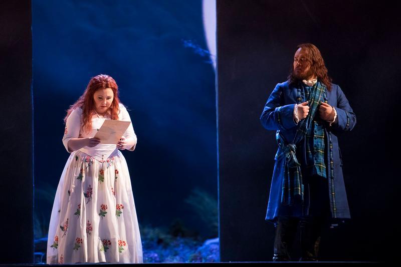 "Albina Shagimuratova as Lucia and Quinn Kelsey as Enrico in Donizetti's ""Lucia di Lammermoor."""