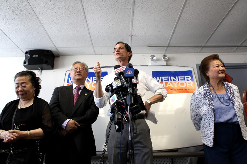 Anthony Weiner at campaign stop in Flushing, Queens.