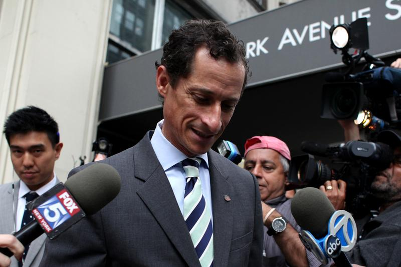 Mayoral candidate Anthony Weiner outside of his Park Avenue apartment.