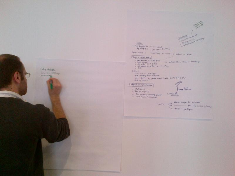 Arnaud Sahuguet at the hackathon ideas board