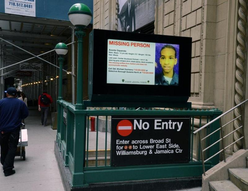Subway Display for Missing Boy