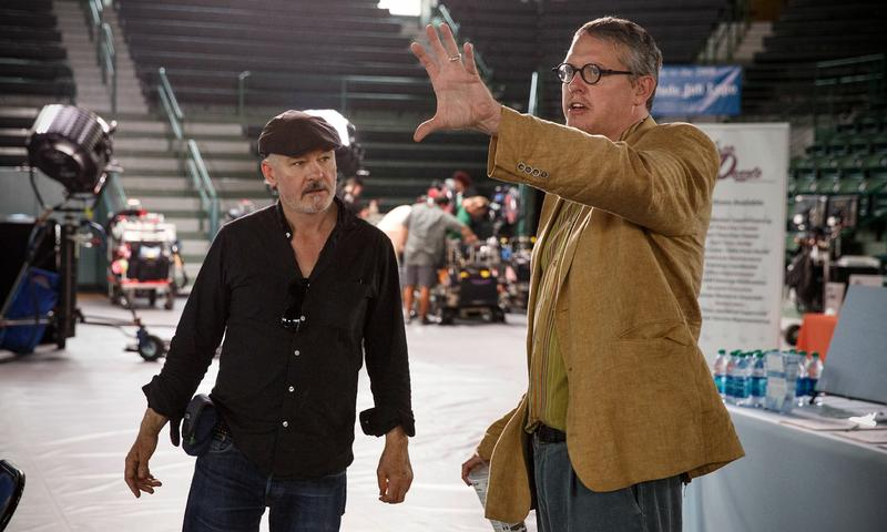 "Cinematographer Barry Ackroyd and Director Adam McKay on the set of ""The Big Short"""