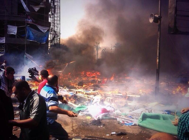 The scene at Rabaa's frontline.