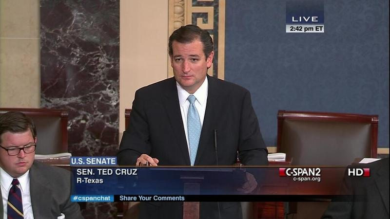 Senator Ted Cruz on the Senate floor. Cruz held the floor to speak against Obamacare for more than 15 hours.