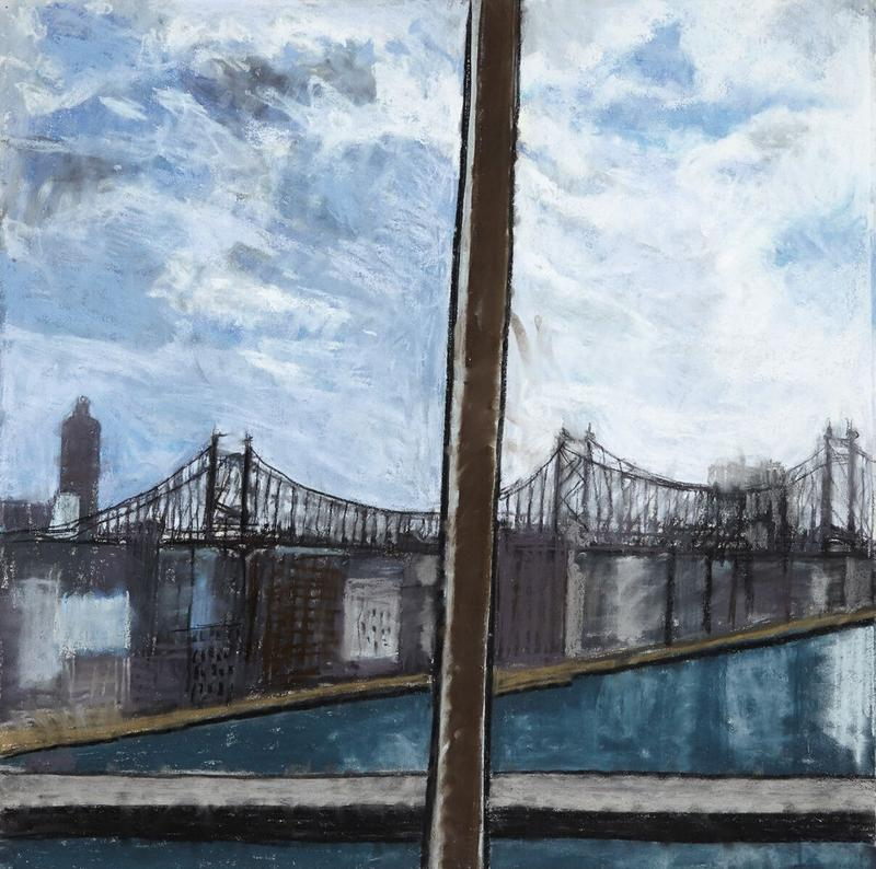 "Jennifer Bartlett's view of the bridge from her series, ""Hospital,"" made while she was at New York-Presbyterian Hospital in 2012."