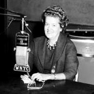 Dr. Leona Baumgartner at the WNYC microphone, 1960