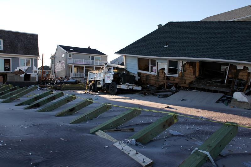 Boardwalk in Belle Harbor, Queens destroyed after Hurricane Sandy.