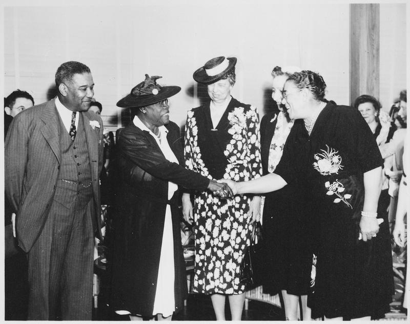 Mary McLeod Bethune and Eleanor Roosevelt at the opening of Midway Hall, May 1943.