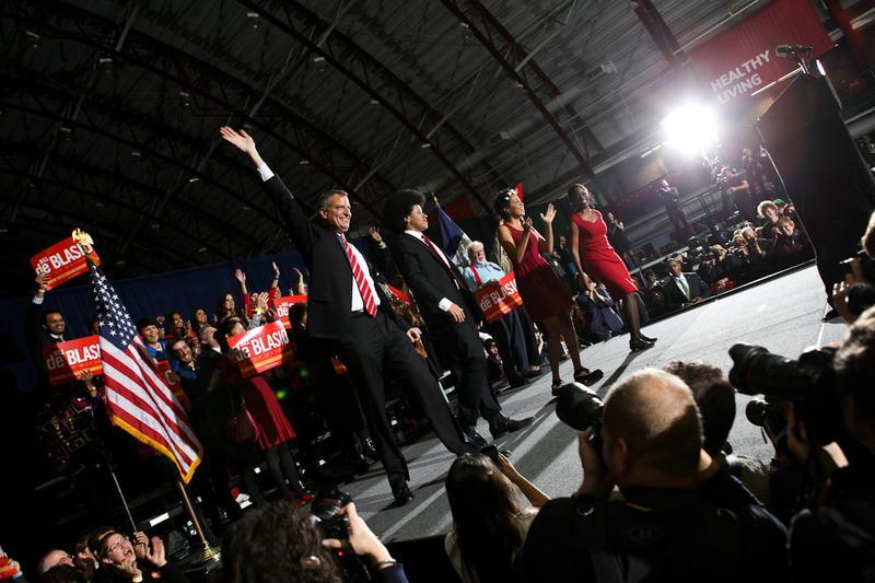 Bill de Blasio and his family on election night Nov. 5 2013.