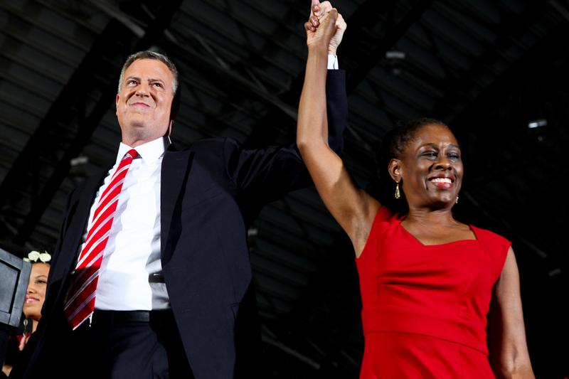 Bill de Blasio and his wife Chirlane McCray on election night Nov. 5, 2013.