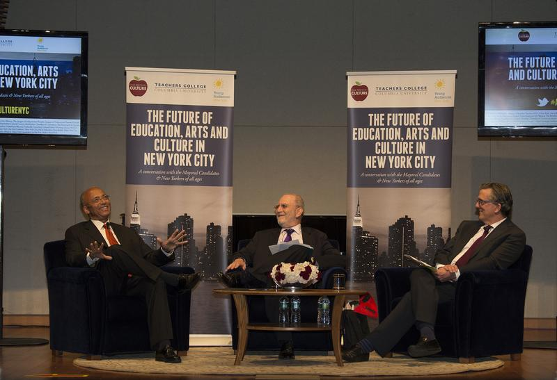 Bill Thompson, Leonard Lopate, Kurt Andersen  at the One Percent for Culture Mayoral Forum, July 30, 2013