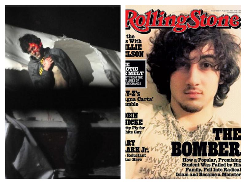 Two images of Dzhokhar Tsarnaev, one from the night of his capture, and another on the cover of Rolling Stone