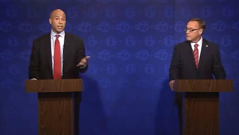 Cory Booker and Steve Lonegan in the ABC-7 debate for US Senator from New Jersey