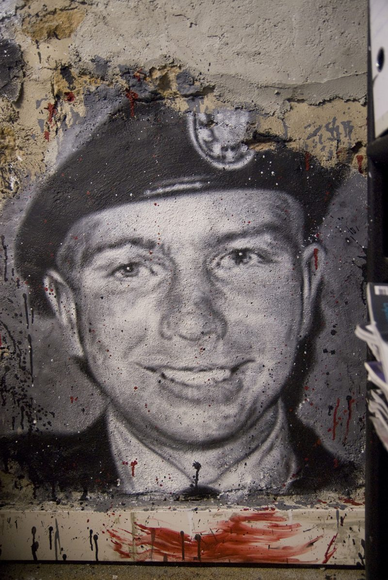 "US soldier Bradley Manning graffiti in the ""Abode of Chaos"" museum of contemporary art, in Saint-Romain-au-Mont-d'Or, Lyon, France"