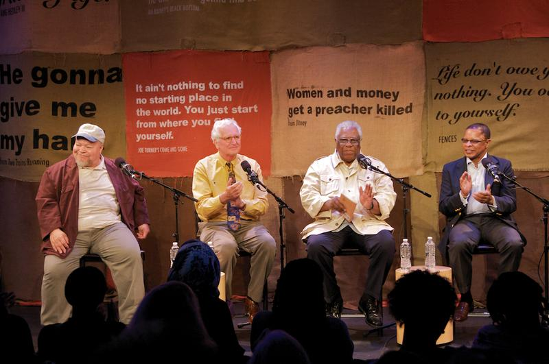 Stephen McKinley Henderson, Jack Viertel, Woodie King, Jr. and Stephen Byrd in The Greene Space.