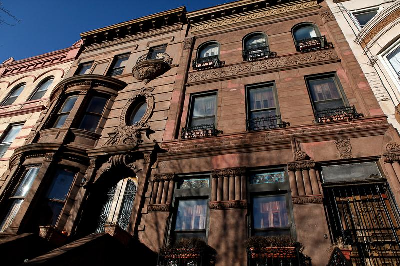 Brownstones in Bedford-Stuyvesant, Brooklyn on Hancock Street.