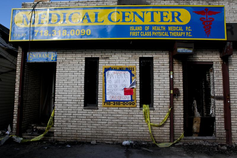 A medical clinic in Rockaway Park, Queens in November 2012, which burned during Sandy.