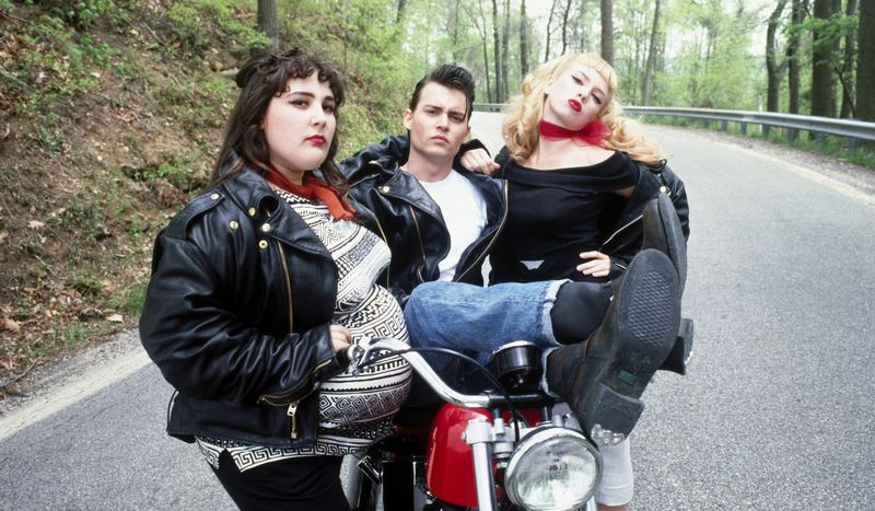 Ricki Lake, Johnny Depp, and Traci Lords in the 1990 film <em>Cry-Baby</em>