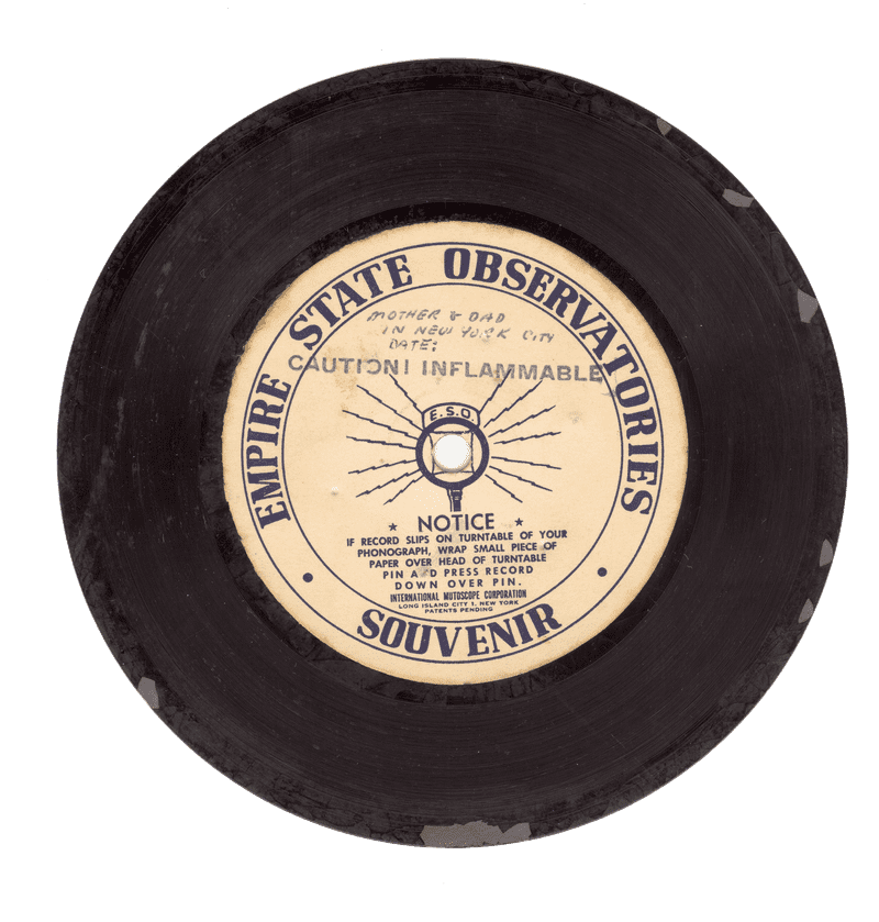 Five-inch transcription disc manufactured by the Mutoscope Corporation of Long Island City, ca.1940s