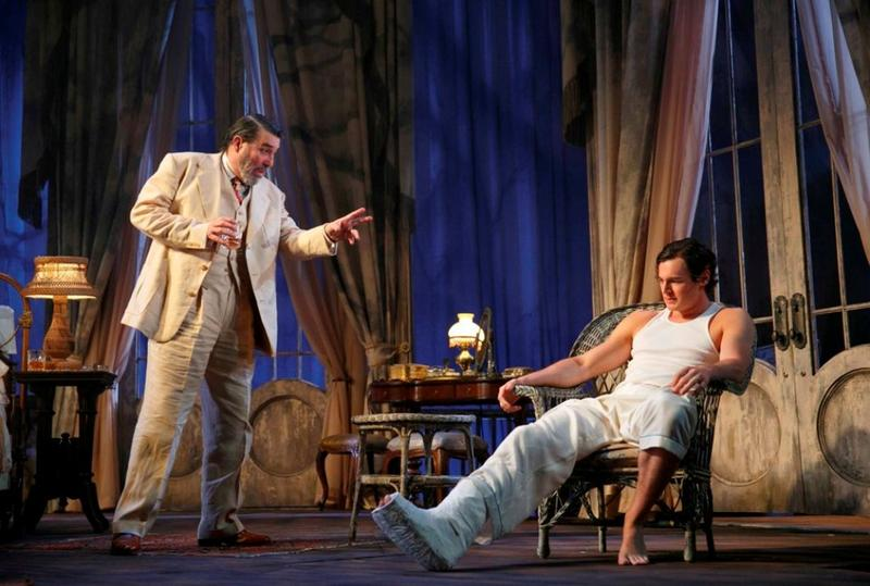 "Ciaran Hinds and Benjamin Walker in Tennessee Williams' ""Cat on a Hot Tin Roof,"" directed by Rob Ashford, at the Richard Rogers Theatre"