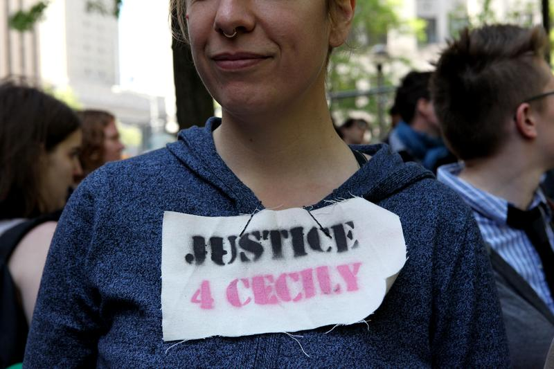 Supporters of Occupy Wall Street protestor Cecilly McMillan outside of Manhattan Criminal Court, following her sentencing on May 19, 2014.
