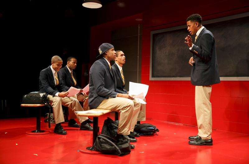 "Nicholas L. Ashe, Wallace Smith, Grantham Coleman, Kyle Beltran, and Jeremy Pope in ""Choir Boy"" at MTC's Studio at Stage II at New York City Center"