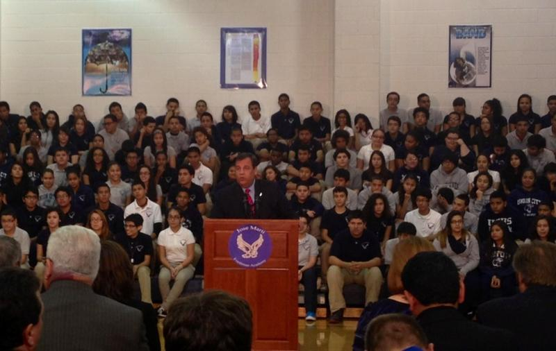 Gov. Chris Christie speaking at Jose Marti Freshman Academy in Union City, NJ on Nov. 6, 2013.
