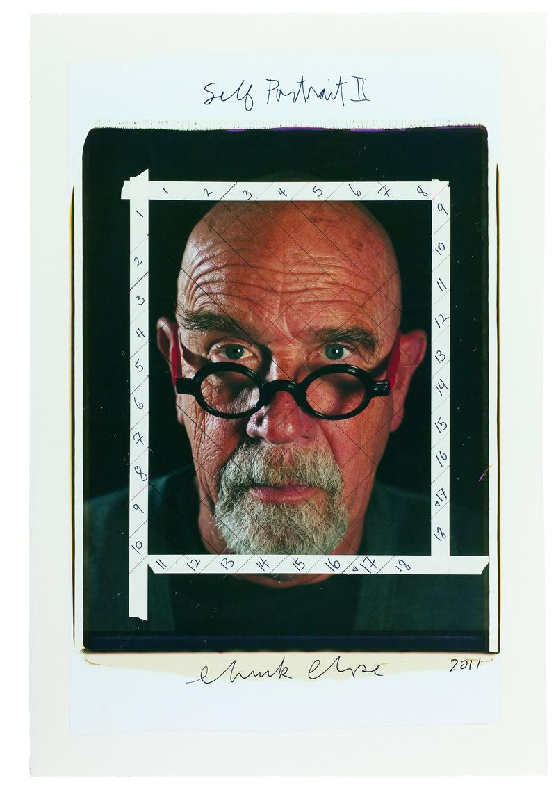 Chuck Close. <em>Self-Portrait II/maquette,</em> 2011, color Polaroid with ink, red-colored dot adhesive, and tape mounted to foamcore