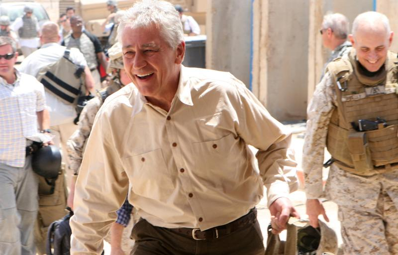 Then-Senator Chuck Hagel arrives at Camp Ramadi for a short visit with U.S. servicemen on July 22, 2008.