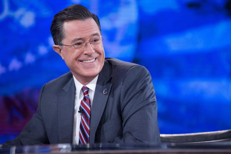Television personality Stephen Colbert during a taping of Comedy Central's 'The Colbert Report' with U.S. President Barack Obama in Lisner Auditorium at George Washington University on Dec. 8, 2014.