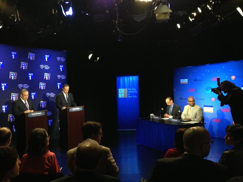 Scott Stringer and Eliot Spitzer face off at the first CFB comptroller primary debate, moderated by Brian Lehrer and NY1's Errol Louis