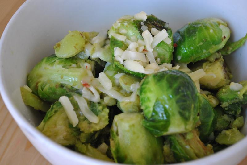 There are avocados cooked into these cheesy Brussels sprouts. Weird and so delicious.