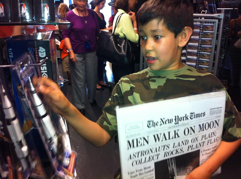Daniel Sorenson, 9, explores the new Enterprise Pavilion at the Intrepid Sea, Air & Space Museum