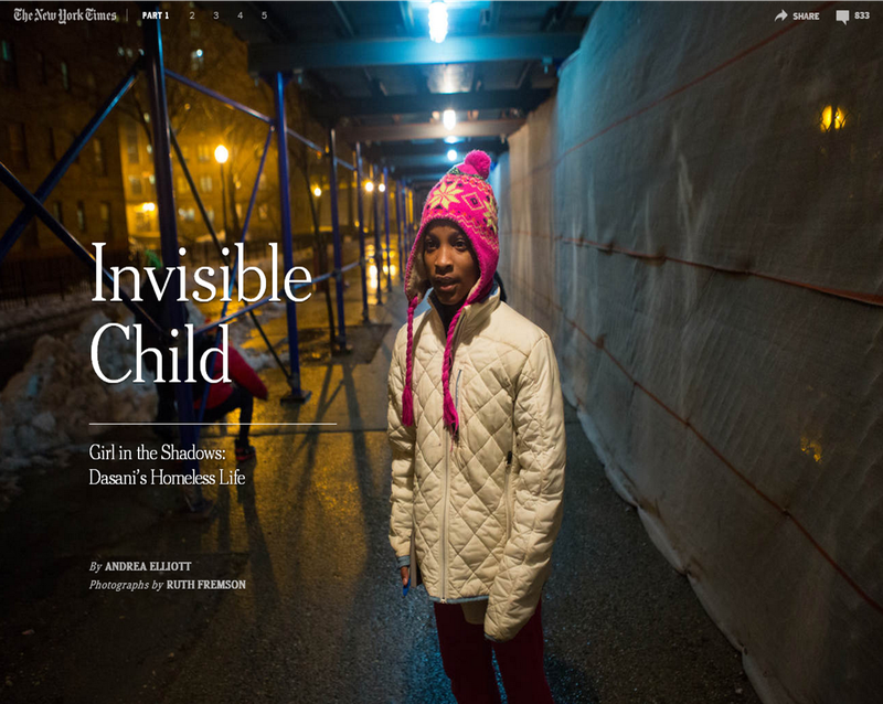 "Dasani, the homeless Brooklyn girl profiled in Andrea Elliott's NYT series ""Invisible Child"""