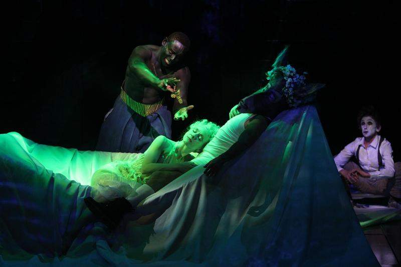 "David Harewood, Tina Benko, Max Casella, Kathryn Hunter in ""A Midsummer Night's Dream,"" directed by Julie Taymore at Theatre for a New Audience, 2013."