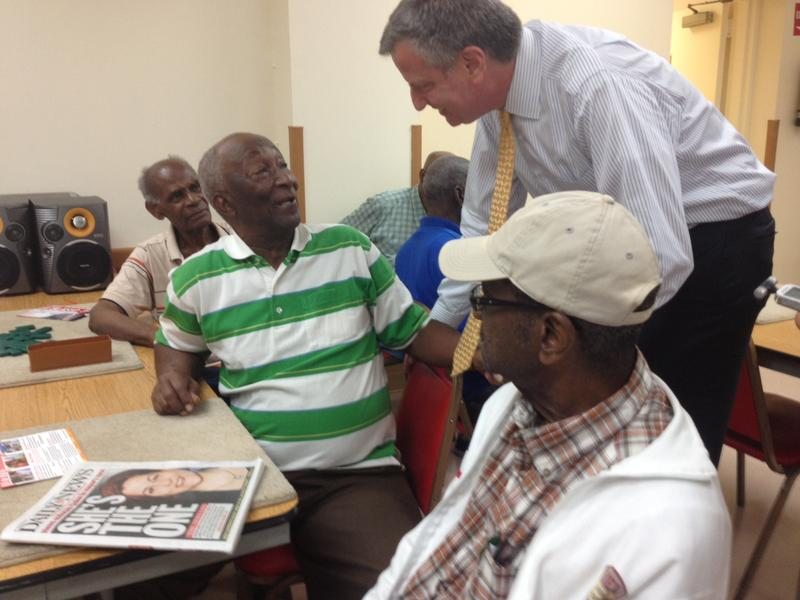 Public Advocate Bill de Blasio greeted voters at a Brooklyn senior center on the day the New York Daily News endorsed Speaker Christine Quinn.