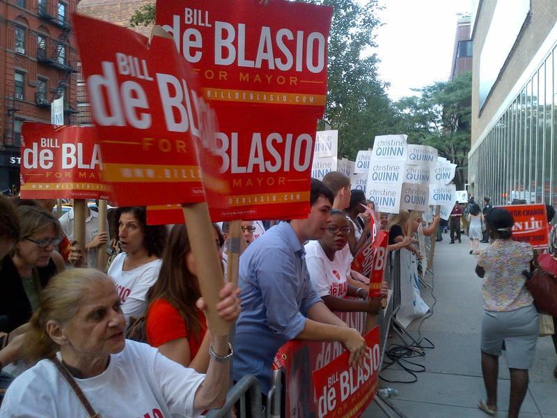 Supporters outside WABC-7 studios before August 13, 2013 Democratic mayoral debate