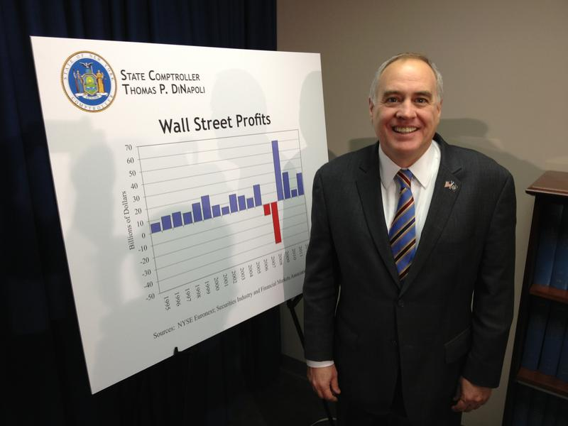 New York State Comptroller Thomas DiNapoli estimates Wall Street profits tripled in 2012 with bonuses up eight percent.