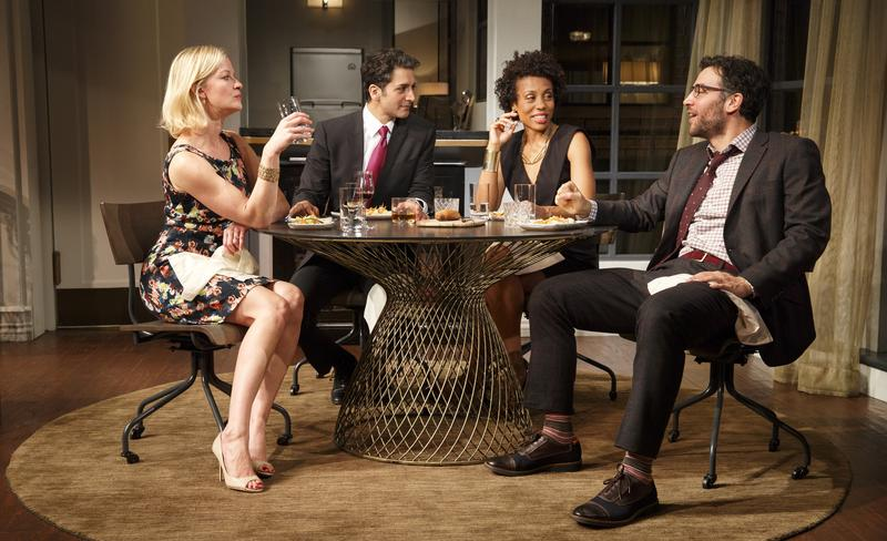 Gretchen Mol, Hari Dhillon, Karen Pittman and Josh Radnor in 'Disgraced' at the Lyceum Theatre.