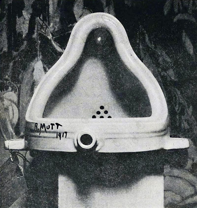 "The ""Fountain"" by Marcel Duchamp, photographed by Alfred Stieglitz from 1917."