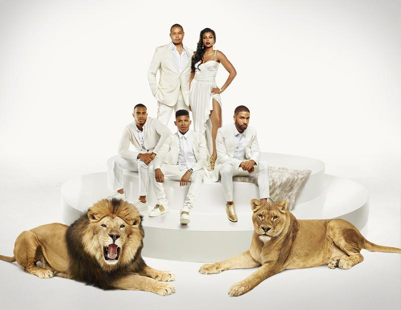 L-R: (Bottom Row) Trai Byers as Andre Lyon, Bryshere Gray as Hakeem Lyon and Jussie Smollett as Jamal Lyon (Top Row) Terrence Howard as Lucious Lyon and Taraji P. Henson as Cookie Lyon in Empire.