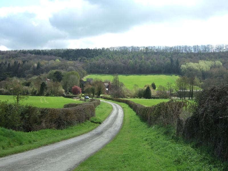 The tiny village of Eaton, with Wenlock Edge behind