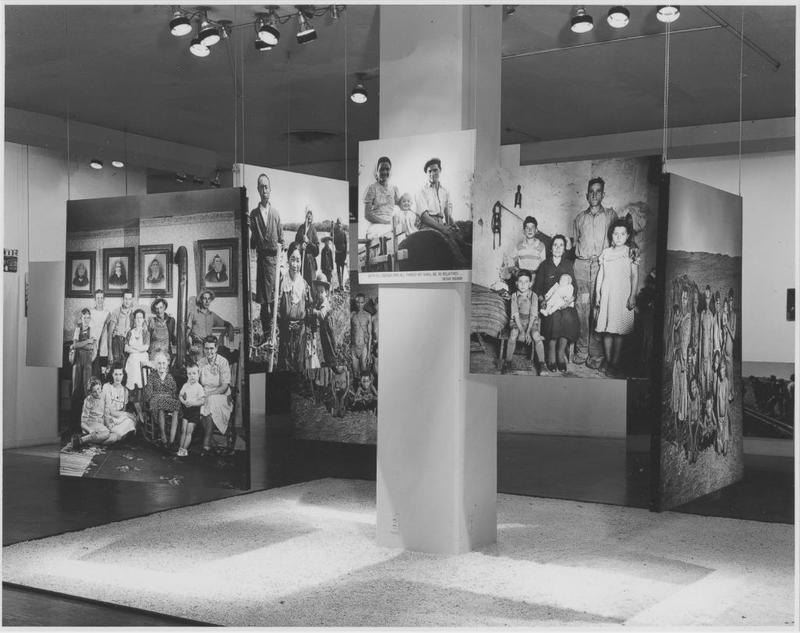 "Installation view of ""The Family of Man"" exhibition at The Museum of Modern Art, 1955"
