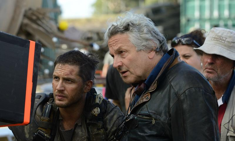 "George Miller with Tom Hardy on the set of ""Mad Max: Fury Road"""