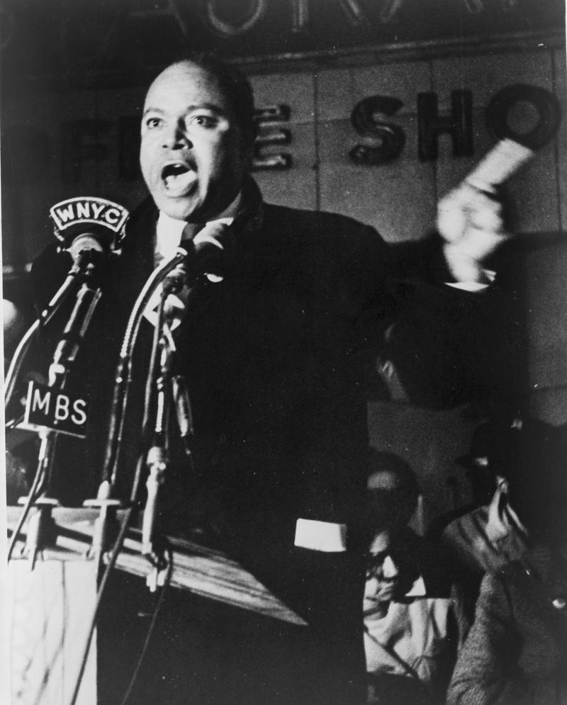James Farmer speaking outside Hotel Theresa, New York City, 1965. Photographed by Stanley Wolfson, New York World-Telegram and the Sun staff photographer