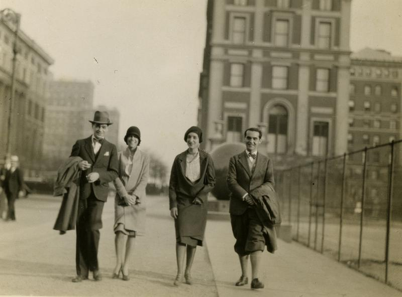 Federico Garcia Lorca (on right) at Columbia University, 1929