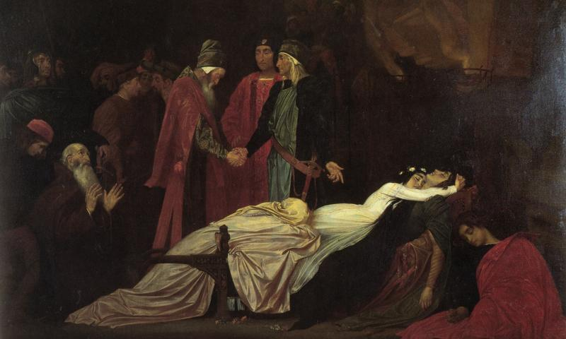 """Frederic Leighton's """"The Reconciliation of the Montagues and the Capulets over the Dead Bodies of Romeo and Juliet"""""""