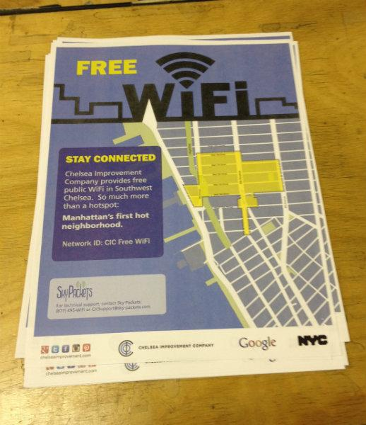 A handbill announcing the free outdoor WiFi network that stretches across parts of Chelsea and the Meatpacking District on a desk in the Robert Fulton Houses, a NYCHA complex