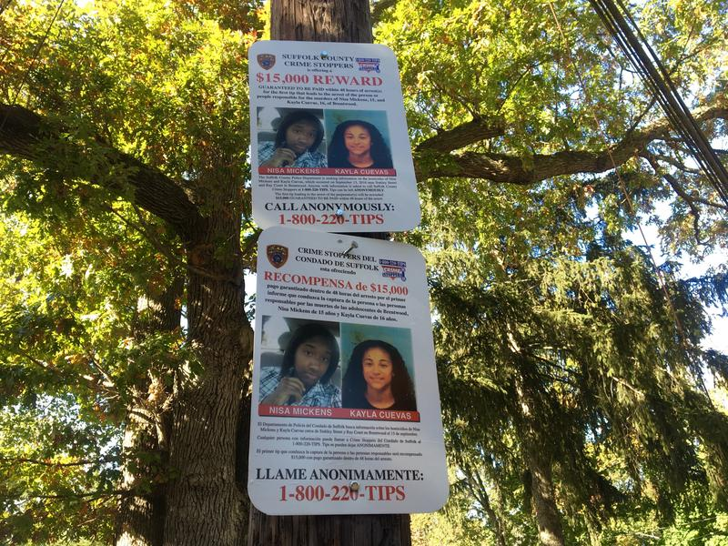 A $15,000 reward is posted outside of Brentwood High School for information that leads to the arrests of Nisa Mickens and Kayla Cuevas killers.