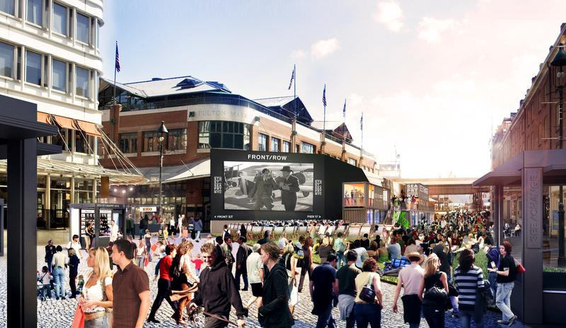 Artistic rendering of the intersection of Fulton and Front streets during the forthcoming See/Change summer series at the South Street Seaport